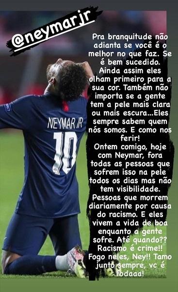 "Neymar acusa jogador de racismo e Ludmilla o apoia: \""Fogo neles\"""