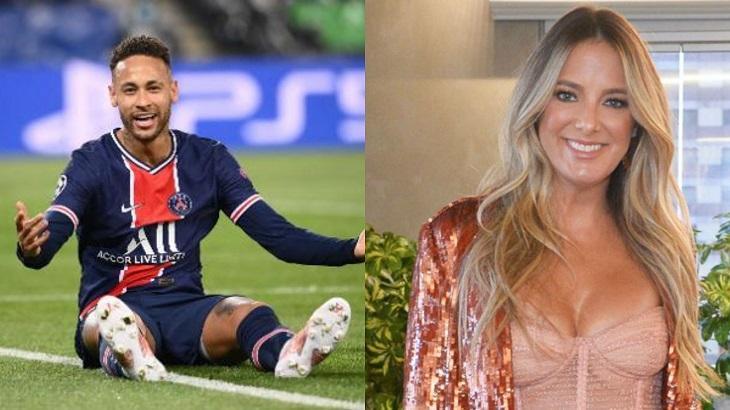 Montagem de foto com Neymar sentado no chão de um campo de futebol e Ticiane sorrindo de pé