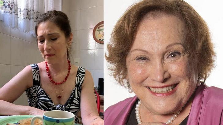 Beth Goulart chorando (à esquerda) e Nicette Bruno (à direita) em foto montagem