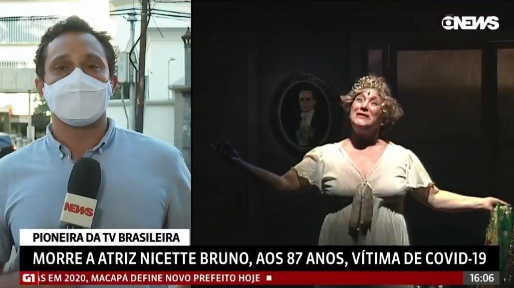 Pedro Neville chora em cobertura da morte de Nicette Bruno na GloboNews