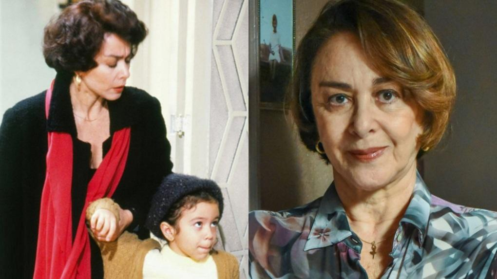 À esquerda, Nívea Maria em cena da novela Sonho Meu; à direita, a atriz hoje, aos 74 anos
