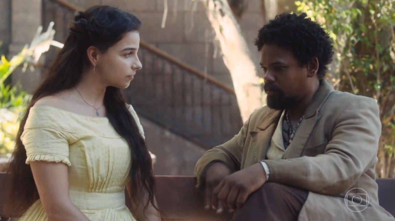 Gabriela Medvedovski e Michel Gomes como Pilar e Samuel em cena de Nos Tempos do Imperador que causou polêmica nas redes sociais