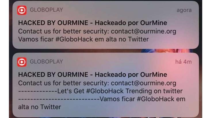 Notificações enviadas pelo grupo de Hackers na plataforma GloboPlay (Foto: Reprodução)