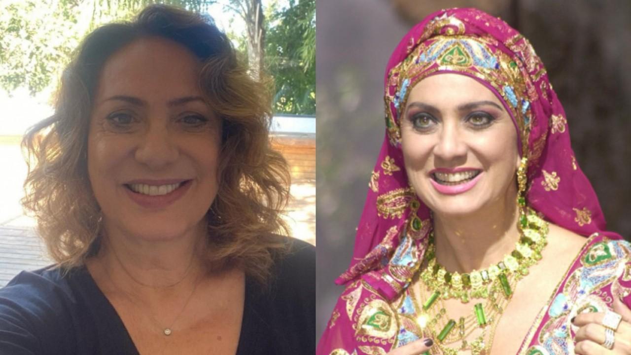 À esquerda, Eliane Giardini atualmente, aos 68 anos; à direita, a atriz caracterizada como Nazira da novela O Clone, exibida há 20 anos