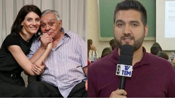 Viúva de Chico Anysio (à esquerda) e jornalista da TV Tem (à direita) em foto montagem