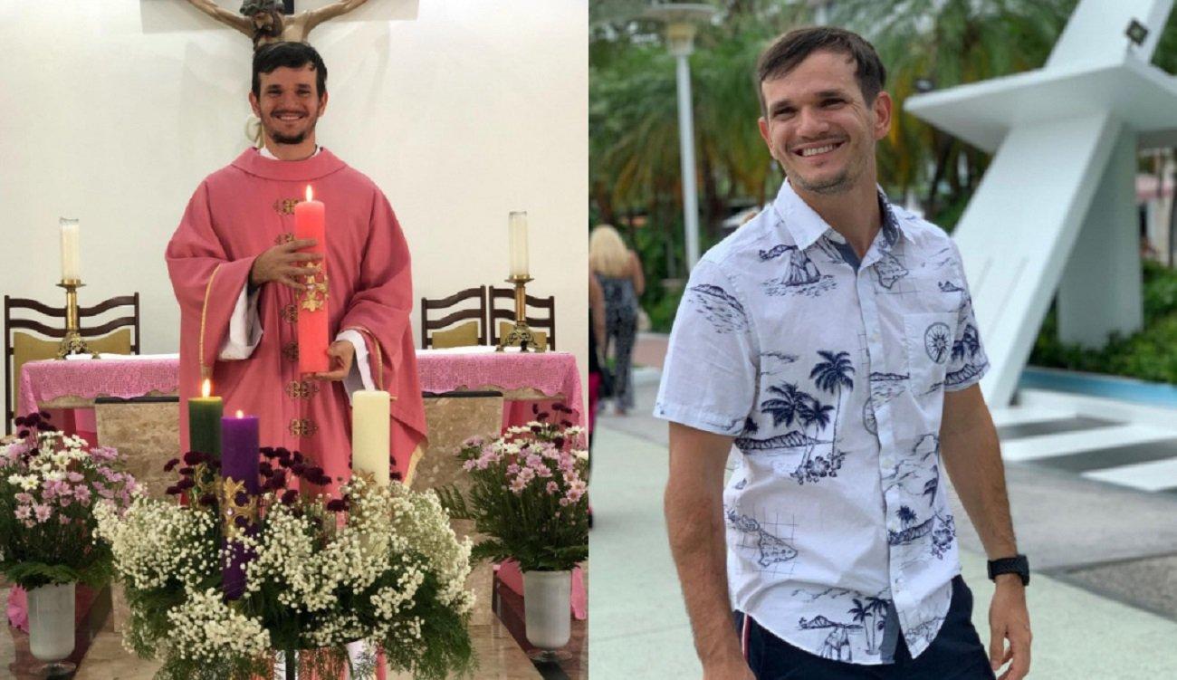 Padre Patrick, de batina, na igreja, e de blusa de botão, ao ar livre
