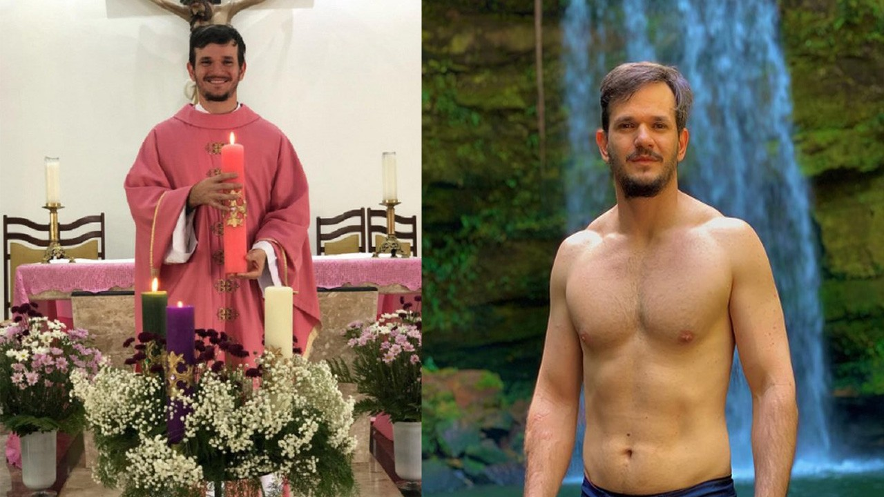 Padre Patrick em missa;Padre Patrick sem camisa