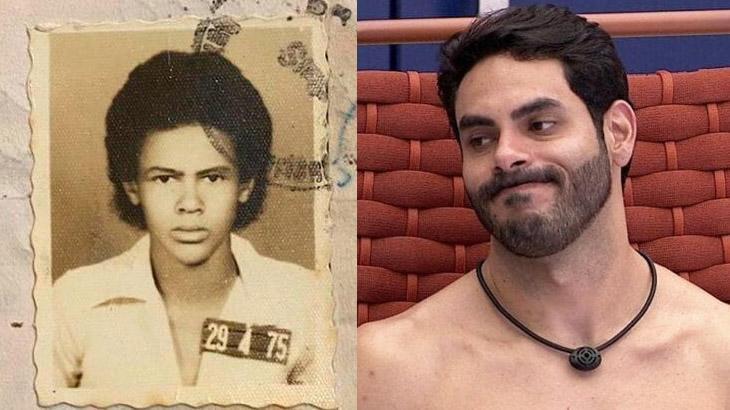 Foto de documento antigo do pai de Rodolffo e o brother ao lado