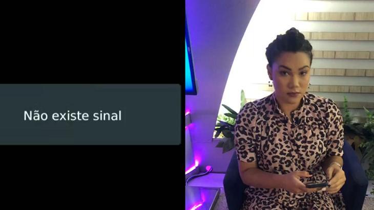 Afiliada sem sinal (à esquerda) e apresentadora Bruna sentada (à direita) em foto montagem
