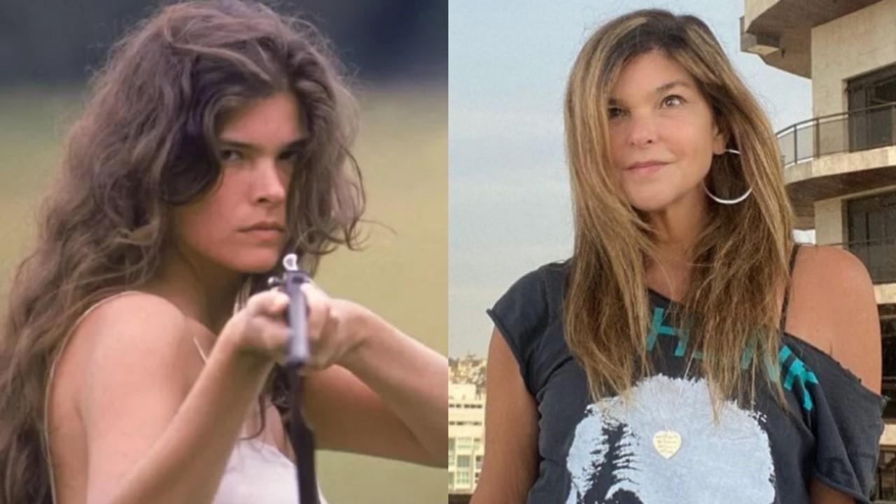 À esquerda, Cristiana Oliveira em 1990, na pele de Juma Marruá da novela Pantanal; à direita, a atriz aos 57 anos, posa para foto no Instagram
