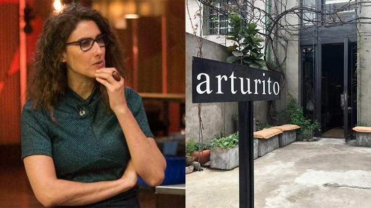 Paola Carosella (à esquerda) e entrada do restaurante (à direita) em foto montagem