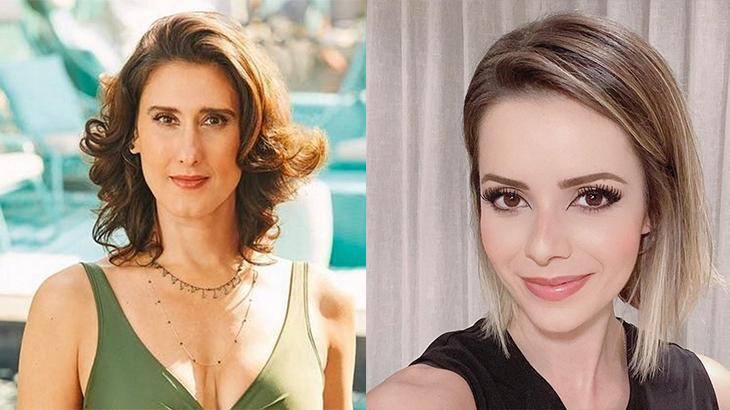 Paola Carossela usando uma camisa verde, à esquerda, e Sandy sorrindo com roupa preta, à direira, em montagem do NaTelinha