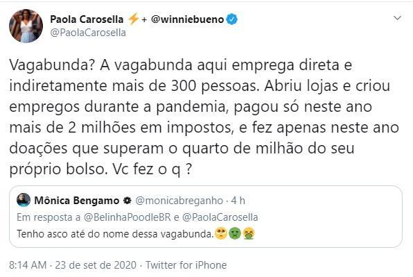 """Paola Carosella é chamada de vagabunda e rebate: \""""Você fez o quê?\"""""""