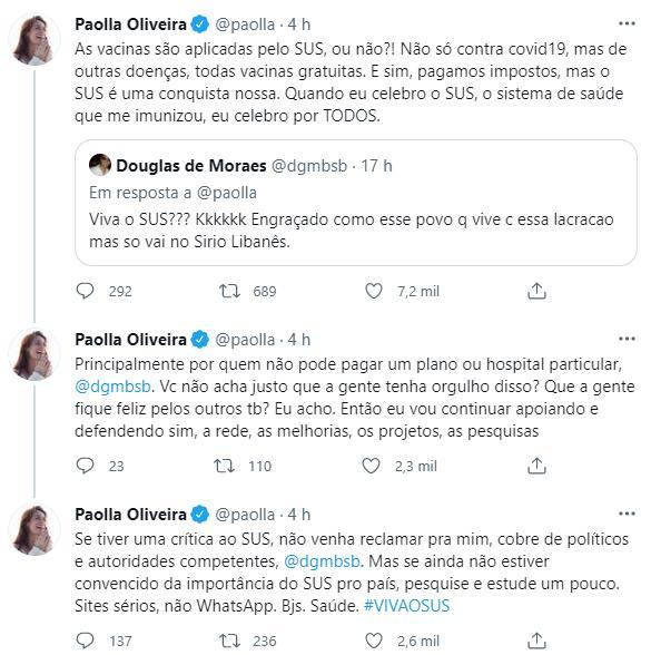 "Paolla Oliveira rebate internauta em defesa do SUS: \""Estude um pouco\"""