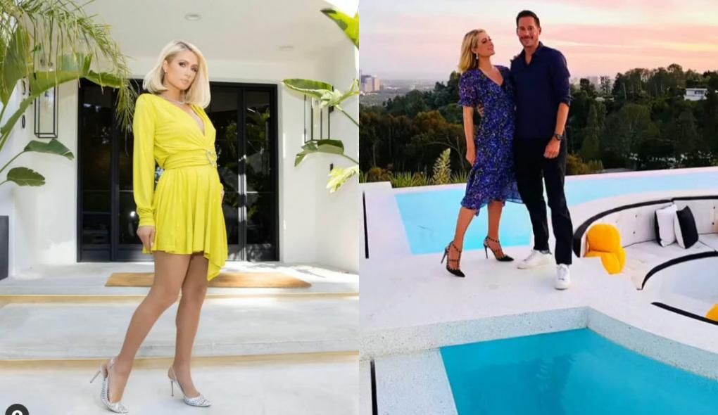 Montagem de Paris Hilton com um vestido amarelo e abraçada ao noivo, o empresário Carter Reum, atrás de uma piscina
