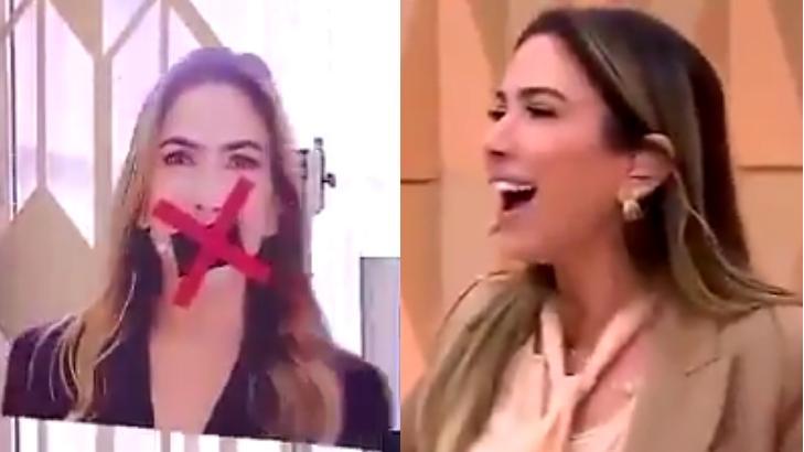 """Patrícia Abravanel vendo a placa de """"Cala a boca"""" do Vem Pra Cá"""
