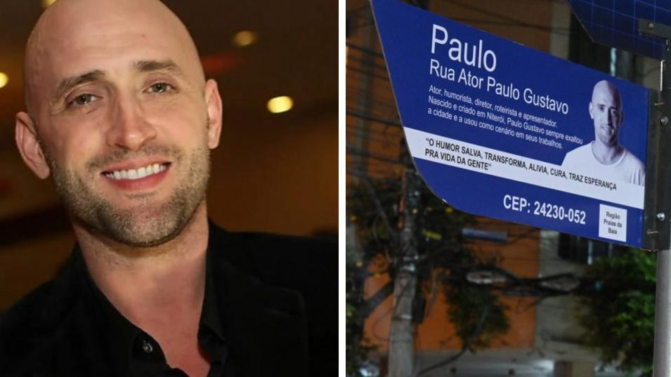 Paulo Gustavo e sua placa de rua