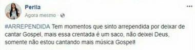 """Perlla sobre ter deixado carreira gospel: \""""essa crentada é um saco\"""""""