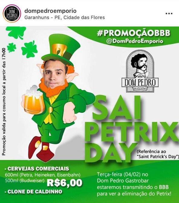 Bar faz promoção de caipirinha e cerveja para a eliminação de Petrix no BBB20