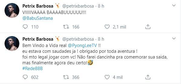 """BBB20: Petrix comemora saída de Pyong: \""""Finalmente deu certo\"""""""