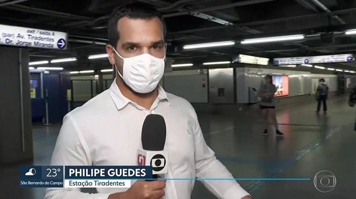 O repórter Philipe Guedes retorna à Globo após se recuperar do coronavírus