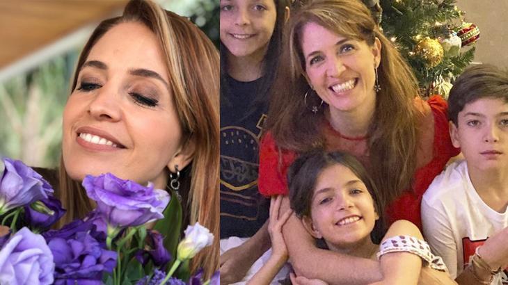 Poliana Abritta com flores e os filhos