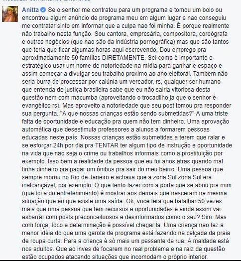 """Anitta responde vereador que questionou se ela é \""""cantora ou garota de programa\"""""""