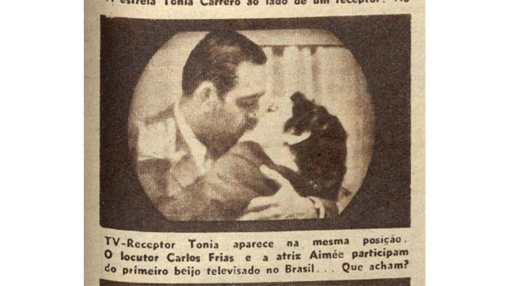 Foto descoberta muda a história sobre o primeiro beijo da TV brasileira