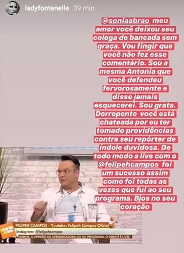 """Antonia Fontenelle rebate fala de Sonia Abrão: \""""Vou fingir que não fez esse comentário\"""""""