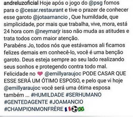 """Amigo entrega relacionamento de Emilly com \""""parça\"""" de Neymar e fala até em casamento"""
