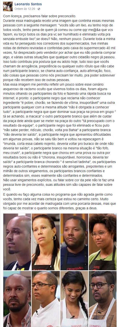 "Participante do \""MasterChef\"" desabafa após sofrer ataque racista na web"