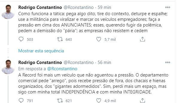 Depois da Jovem Pan, Record demite Rodrigo Constantino por questionar estupro