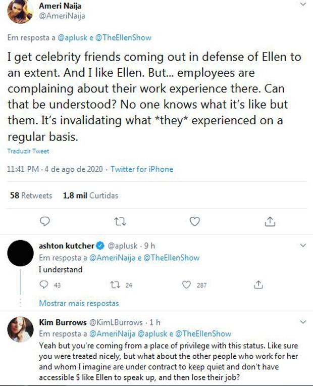 Ashton Kutcher toma partido em polêmica de Ellen DeGeneres e rebate críticas