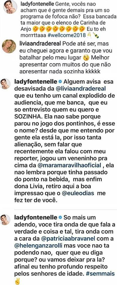 """Lívia Andrade e Antonia Fontenelle batem boca na web por causa do \""""Fofocalizando\"""""""