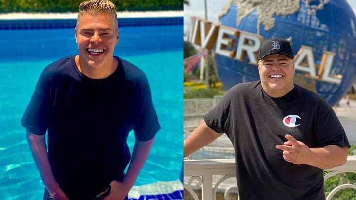 Rafael Vanucci mais magro (à esquerda) e mais gordo (à direita)