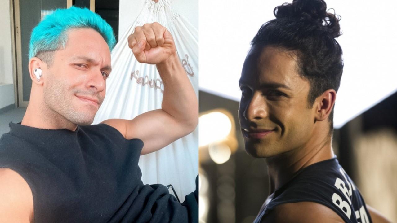 À esquerda, Rainer Cadete de cabelos azuis para segunda temporada de Verdades Secretas; à direita, o ator como Visky na primeira temporada da novela