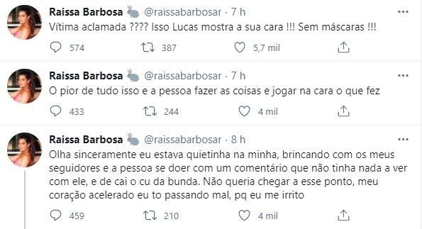 """Raissa Barbosa e Lucas Selfie trocam farpas: \""""Fiquei muito tempo aceitando humilhação\"""""""