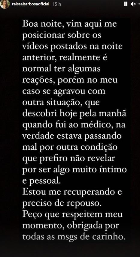 """Raissa Barbosa justifica choro após tomar vacina: \""""Íntimo e pessoal\"""""""