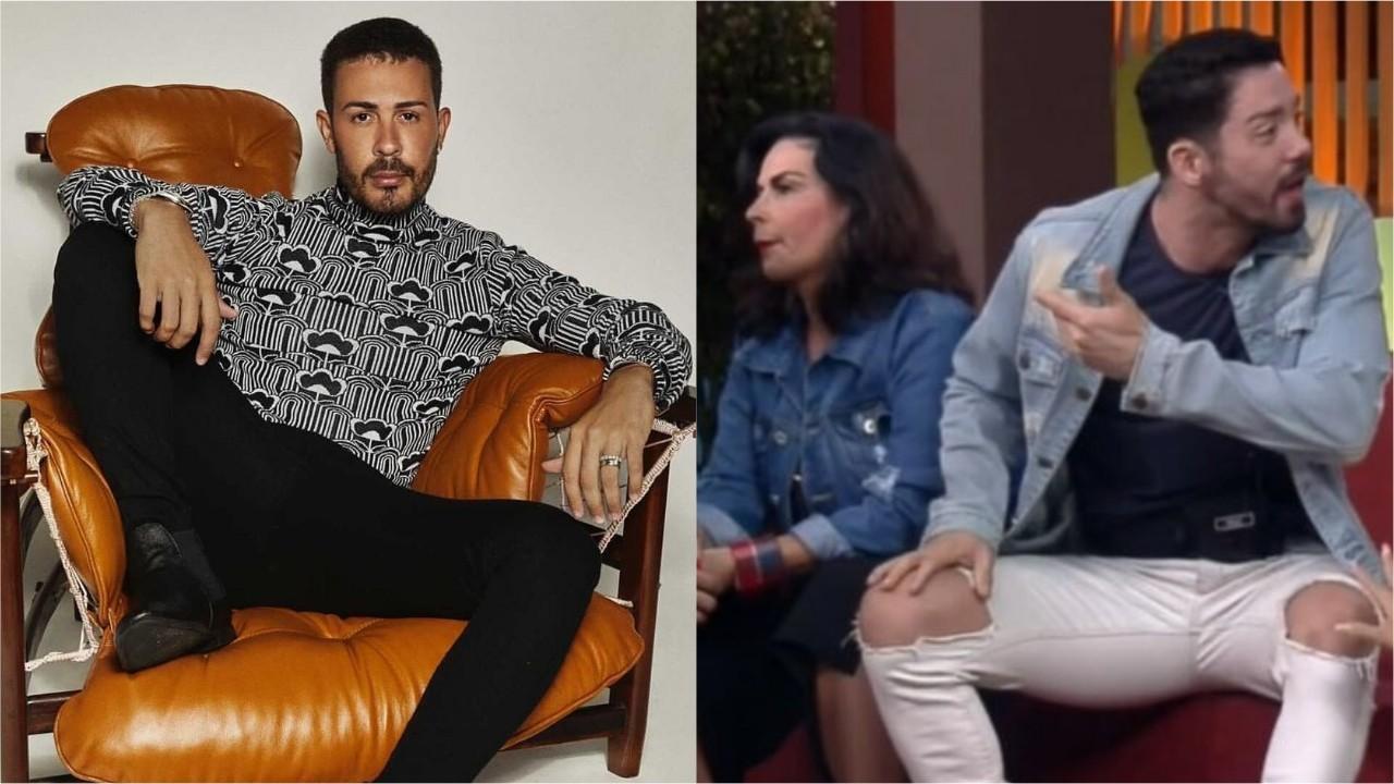 Carlinhos Maia posa para a foto, enquanto Solange Gomes e Rico Melquiades sentados discutem ao vivo em A Fazenda 2021