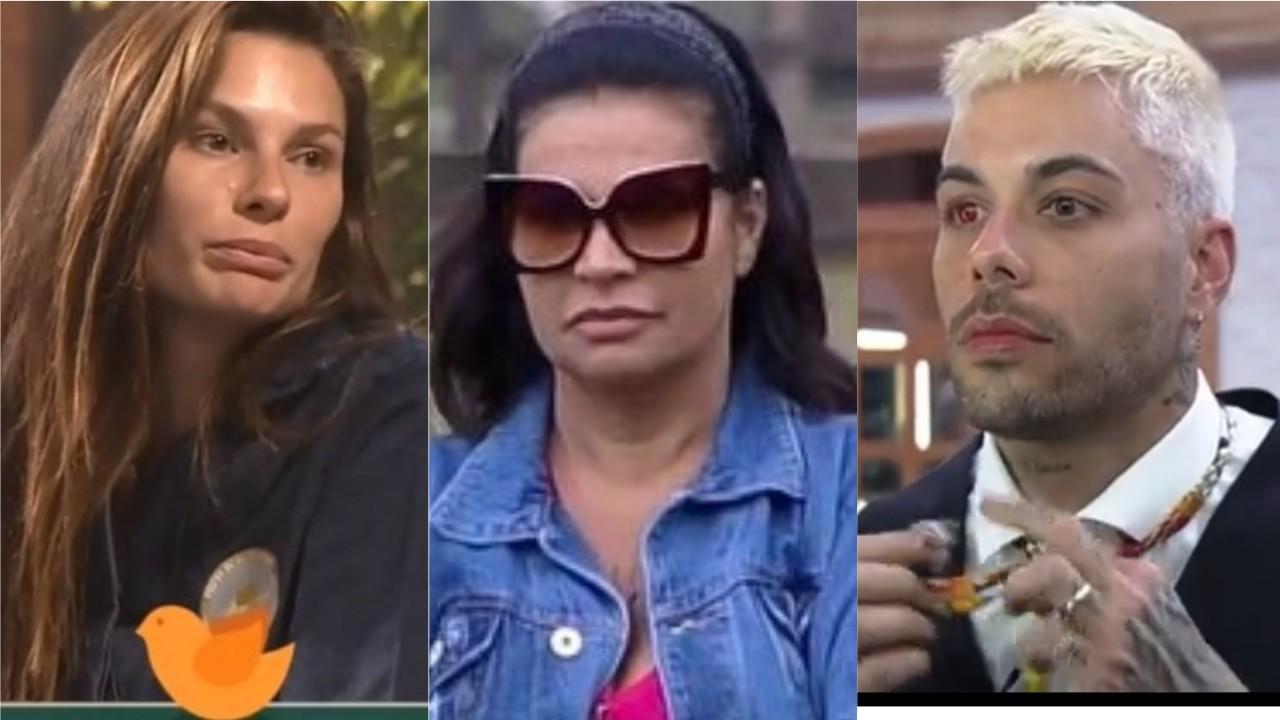 Dayane Mello, Solange Gomes e Gui Araújo em diferentes momentos em A Fazenda 2021