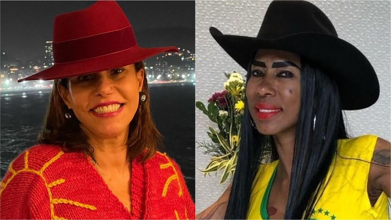 """Narcisa Tamborindeguy e Inês Brasil, ambas de chapéu, posam sorridentes. As duas estão entre os pedidos feitos pelos fãs do reality """"A Fazenda"""""""