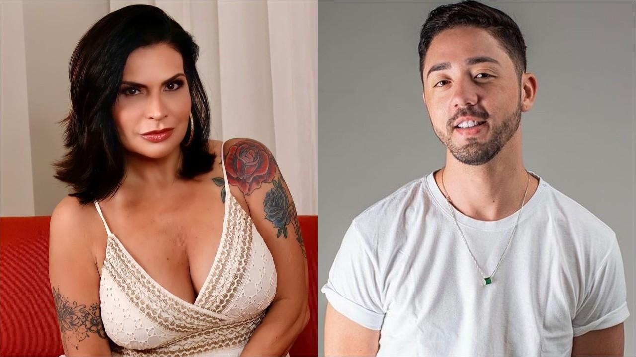 """Solange Gomes e Rico Melquiades posam sorridentes. A dupla estreia nesta terça-feira (14) em """"A Fazenda"""""""