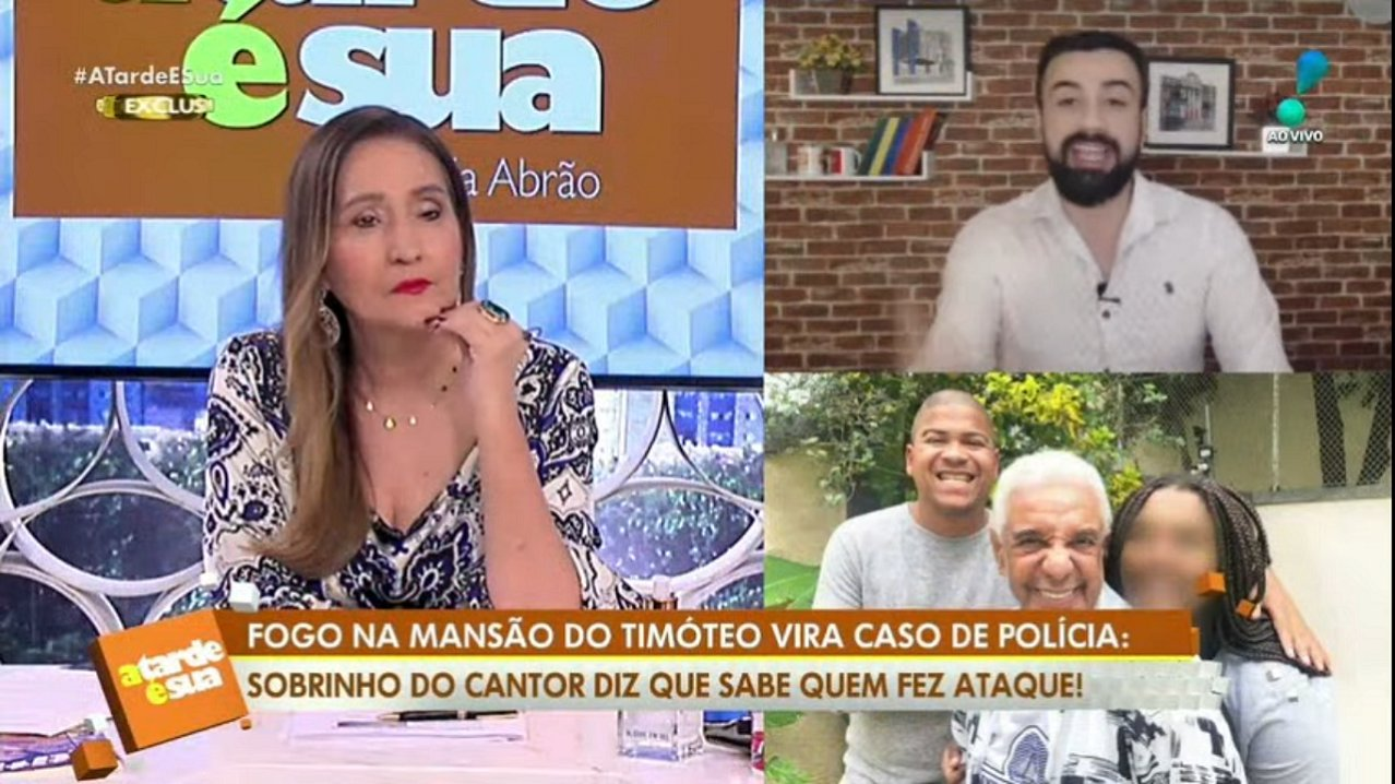 Sônia Abrão e Bruno Talamo no A Tarde é Sua