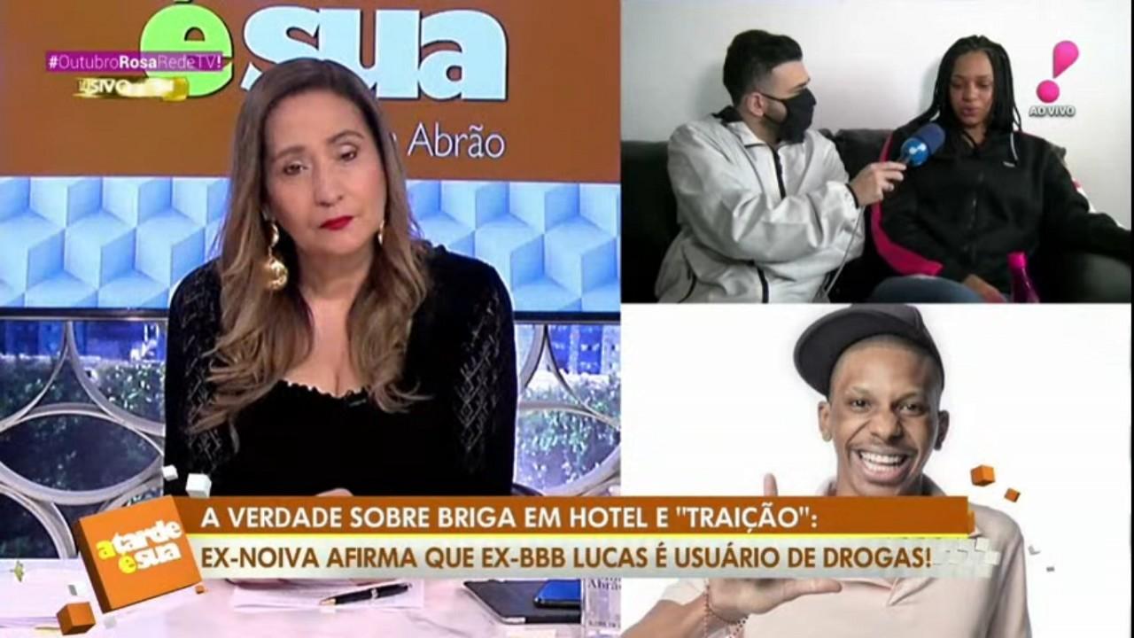 Sônia Abrão, Bruno Tálamo e Julia no programa A Tarde é Sua