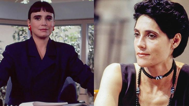 Regina Duarte séria, à esquerda, e Christiane Torloni sorrindo, à direita, em montagem do NaTelinha