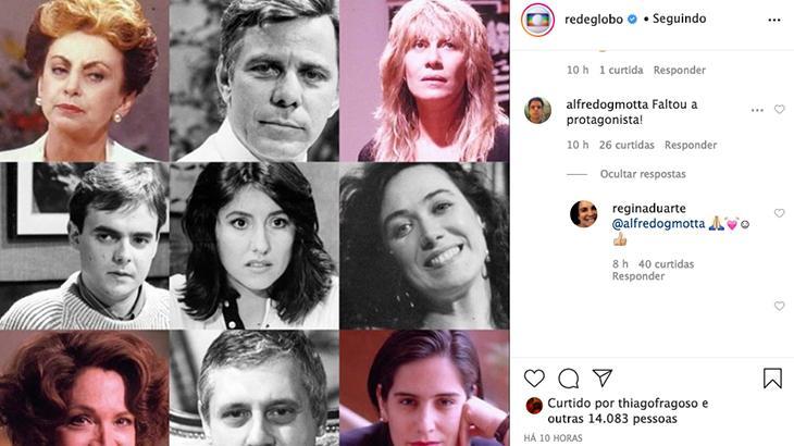 Globo ignora Regina Duarte em Vale Tudo, e atriz reage