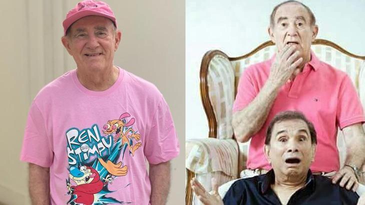 Renato Aragão com camisa rosa, à esquerda, e sentado com Dedé Santana numa poltrona, à direita, em montagem do NaTelinha