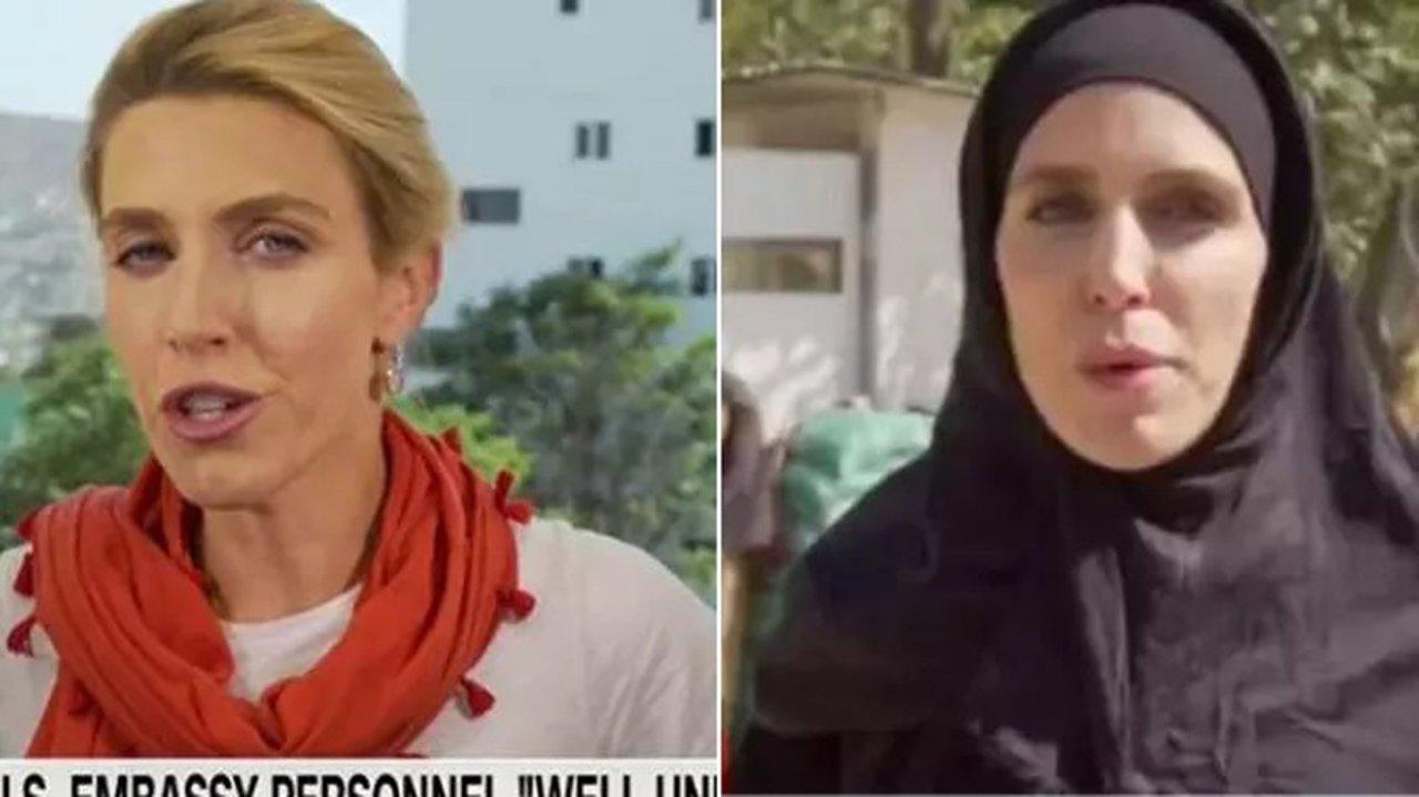 Repórter da CNN com roupa casual; Repórter da CNN com véu