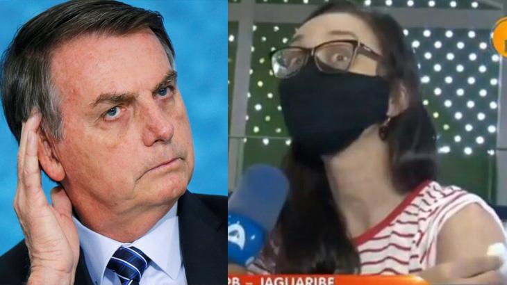 Jair Bolsonaro sério; mulher com máscara, sendo entrevistada