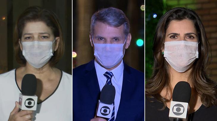 Delis Ortiz, Júlio Mosquéra e Camila Bomfim usam máscara no JN